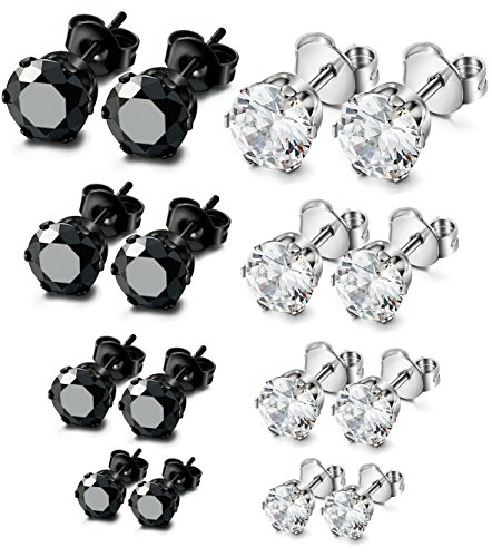[ORAZIO 8 Pairs Stainless Steel Mens Womens Stud Earrings Pierced Cubic Zirconia Earrings, 3mm-6mm] (3mm Round 4 Prong)
