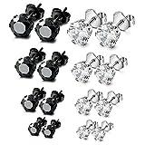 ORAZIO 8 Pairs Stainless Steel Mens Womens Stud Earrings Pierced Round Cubic Zirconia Earrings, 3mm-6mm