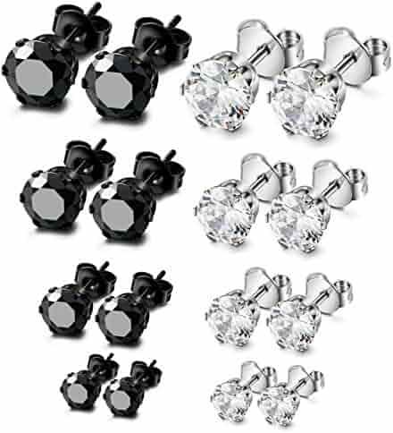 ORAZIO 8 Pairs Stainless Steel Mens Womens Stud Earrings Pierced Cubic Zirconia Earrings, 3mm-6mm