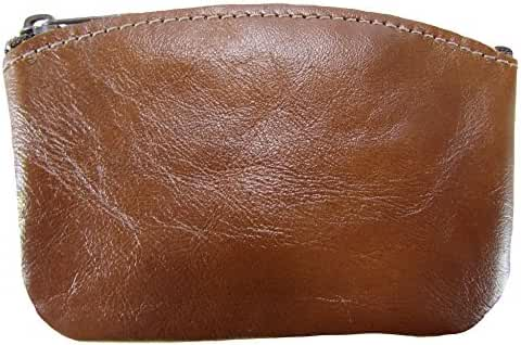 North Star Men's Large Leather Zippered Coin Pouch Change Holder