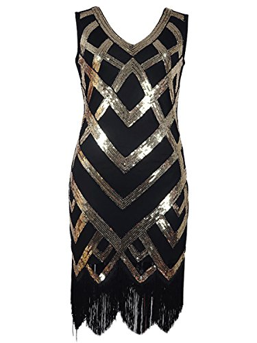 Samba Costumes For Sale (DanceQueen 1920's Classic Tassel Sequin Latin Jazz Gatsby Evening Competition Dance Dress 1 Piece Black L)