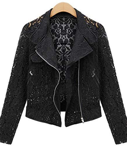 Jacket Jacket Comradesn Metal Autumn Lace Zipper Jacket Casual Brand Lace Outwear Biker Black Short Full Leisure 7PErP