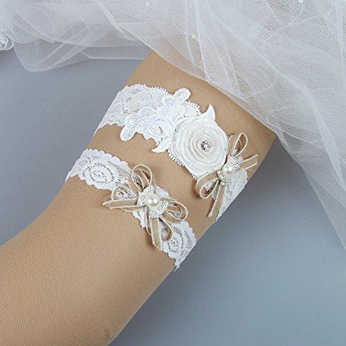 Country Wedding Garters: MerryJuly Rustic Country Burlap Lace Wedding Bridal Garter