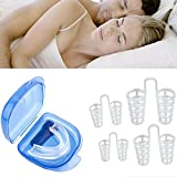 Mouth Guards & Snore Stopper Nose Vent for Teeth Grinding, Anti Snoring Devices Sleep Aid Custom Fit Night Dental Guard with Case for Sleeping