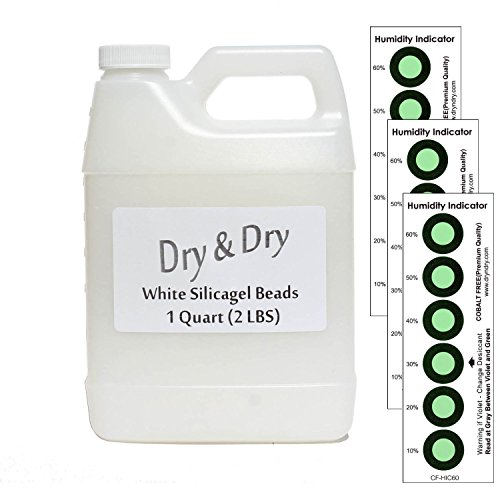 2 Lb Beads (1 Quart Pure White Silicagel Desiccant Beads with 3 Humidity Indicating Cards - 2 LBS Reusable)