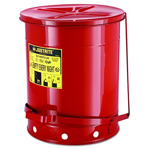 JUSTRITE 09500 Red Oily Waste Can, 14gal, Lever Lid ()