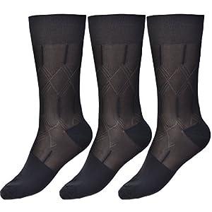 Mens Dress Socks Silk Sheer Trouser Sock Mid-Calf Cool For Summer 3 Packs