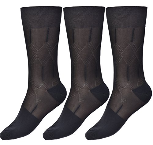 Mens Thin Socks Silk Sheer Trouser Sox Mid-Calf Over the Calf Cool For Summer 3 Packs