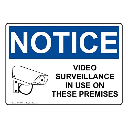 ComplianceSigns Vinyl OSHA Notice Label, 5 x 3.5 in. with Security Camera Info in English, 4-Pack White