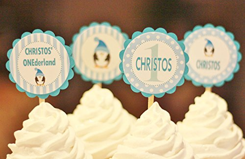 12 - Turquoise, Light Blue & Black Dot Stripe Penguin Winter Wonderland Onederland Birthday Cupcake Toppers - Party Packages, Tags, Banners, Door Signs ()