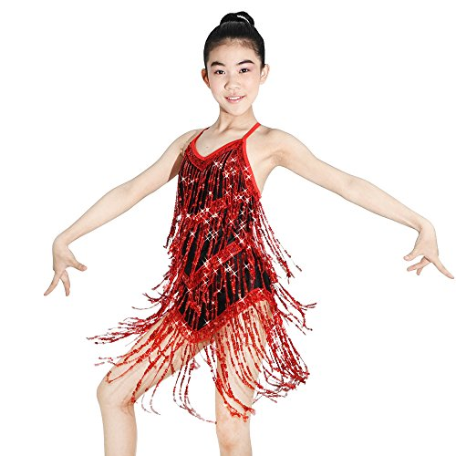 Red Ice Costumes Skating (MiDee Sequin-fringes Dance Costume Dress For Jazz Latin Iceskating Camisole (MA,)
