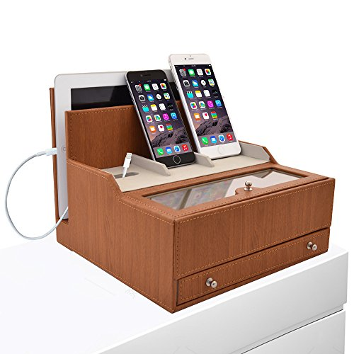 icozy charging valet office desk organizer electronics caddy faux leather station beige. Black Bedroom Furniture Sets. Home Design Ideas