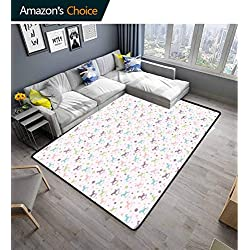 Bigdatastore Toy Horse Vegetables Area Rug Boys Room, Rocking Horse Motif Colorful Composition Dotted Background Children Plaything, Easy Maintenance Area Rug Living Room Bedroom Carpet(3'x 8')