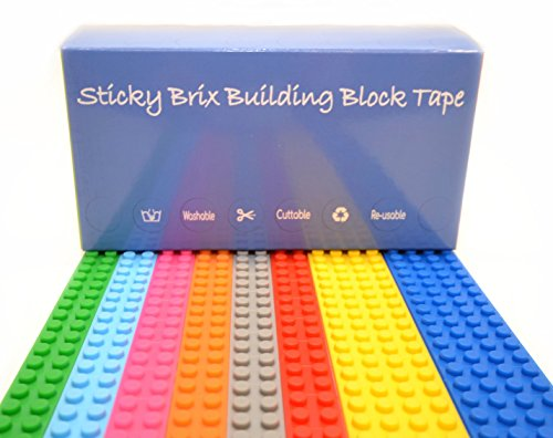 Lego Compatible Building Block Tape | 8 x Strips 2 Stud + 4 Stud | Premium Quality | Toy Brick Silicone Rolls | Flexible Sticky Adhesive | Yellow Blue Green Red Pink Orange Grey | Fun Variety Pack