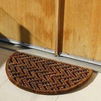 """Rubber-Cal """"Caspian Sea"""" Outdoor Half Round Scraper Doormat, 18 by 30-Inch"""
