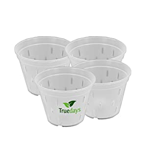 TRUEDAYS 5.5 inch 4 Pack Orchid Clear Plastic Pot Breathable Slotted Container