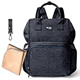 Backpack Diaper Bag, F-Color Water Resistant Baby Diaper Bag for Women or Men Large Capacity Easy to Clean Nappy Bag with Tissue Pocket, Insulated Bottle Holders and Changing Pad, Dark Grey