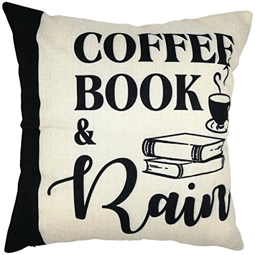 Arundeal Coffee Books and Rain 18 x 18 Inch Cotton Linen Square Throw Pillow Cases Cushion Cover
