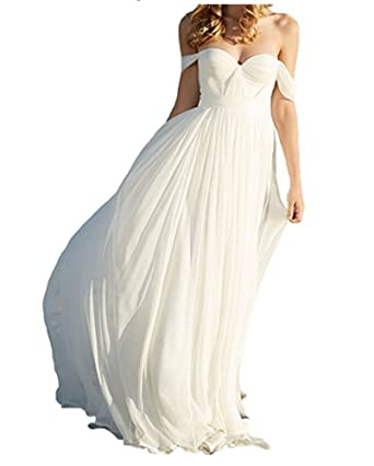 Womens 2018 Simple Straps A Line Long Chiffon Bridal Beach Wedding