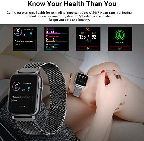 Anmino Smart Watch with Heart Rate Monitor BP Fitness Tracker IP68 Waterproof Activity Tracker Full Touch Screen Smartwatch Sleep Monitor Calorie Step Counter SMS Call Notification(Black Steel) 518yd0pVFcL