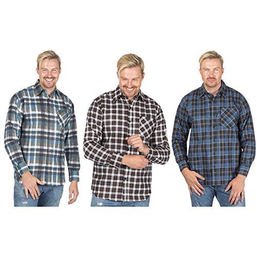 Mens New Lumberjack Brushed Fleece Check Casual Shirt Warm Cotton Work Top M-5XL