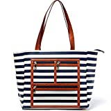 Women Faux Leather Handbag Striped Display Marketing Presentation Bag Tote (Navy)