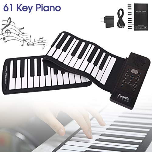 [해외]OriGlam Portable Roll Up Piano Digital Electronic Piano Keyboard 61 Keys Soft Silicone Flexible Foldable Keyboard Built-in Speaker Supports USB MIDI Output Music Gifts for Women Men Kids / OriGlam Portable Roll Up Piano, Digital El...