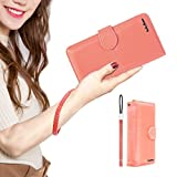 LUCKY FLOWER Card Holder for Kids, Leather Long Wallet Checkbook Clutch Purse with Gift Boxed(Pink)