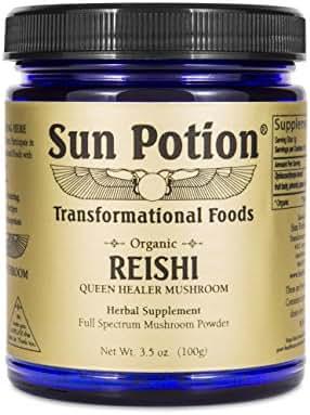 Reishi Mushroom Powder 100g by Sun Potion - Adaptogenic Superfood, Certified Organic, Pure Ganoderma Lucidum Ling Zhi, Immune Booster, Vegan Herbal Supplement, and Adaptogen