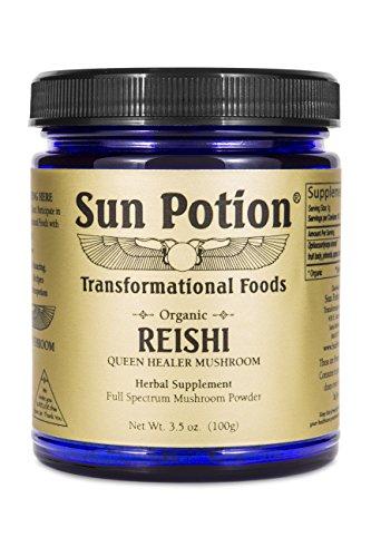 Reishi Mushroom Powder 100g by Sun Potion - Adaptogenic Superfood, Certified Organic, Pure Ganoderma Lucidum Ling Zhi, Immune Booster, Vegan Herbal Supplement, and Adaptogen (Reishi Mushroom)