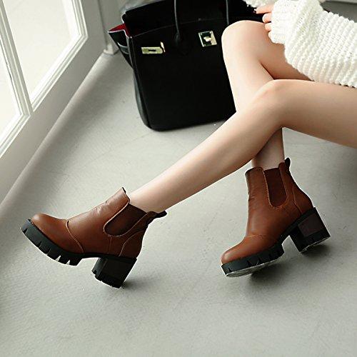 YE Damen Chelsea Boots Ankle Boots Blockabsatz Stiefeletten Plateau mit Absatz 6cm Bequem Freizeit Schuhe Braun