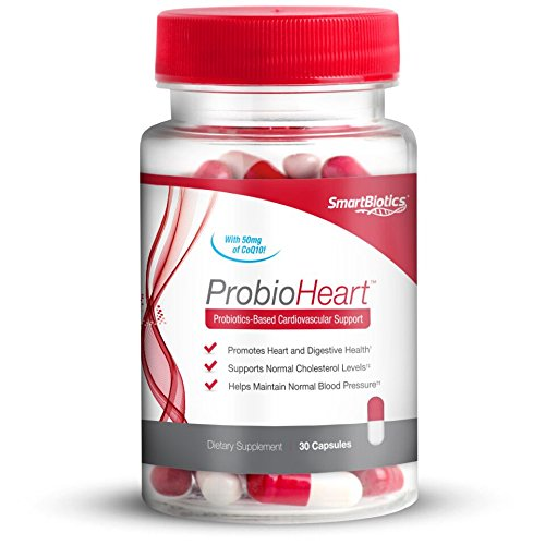 ProbioHeart Probiotics + Heart Health Supplement, Daily Cardiovascular, Blood Pressure, Cholesterol, and Digestive Support, SmartBiotics, 30 Count