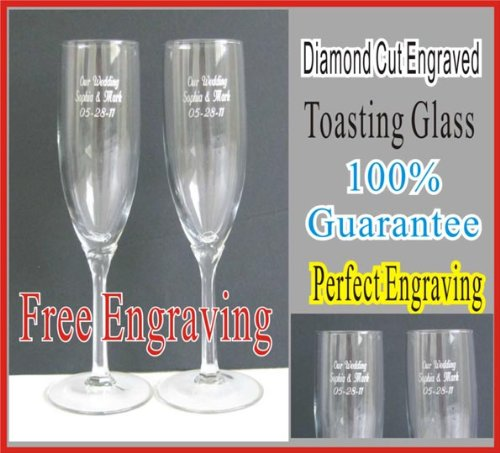 Personalized Wedding or Anniversary Wine Glass Toasting Flutes (Set of 2)