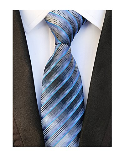 Men's Blue Grey Striped Neck Tie Accessory Evening Summer Wedding Casual Necktie