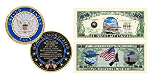 American Art Classics United States Navy Challenge Coin Prayer 1-Pack (One Coin) and US Navy Million Dollar Novelty Bill Collectible - Best Naval Gift from American Art Classics