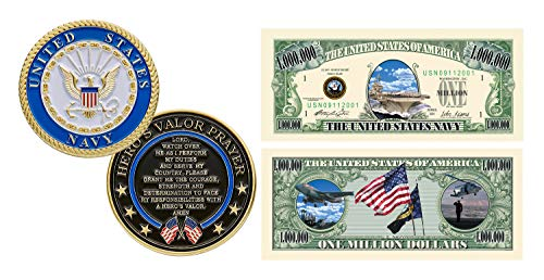 000 Coins - American Art Classics United States Navy Challenge Coin Prayer 1-Pack (One Coin) and US Navy Million Dollar Novelty Bill Collectible - Best Naval Gift