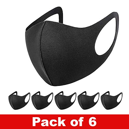 6 PCs Reusable Fabric Face Cover Black – UK Seller