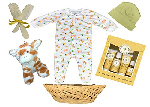 Baby Shower Gift Basket for a Boy or Girl - Giraffe 10 Piece Sleeper Gift Set