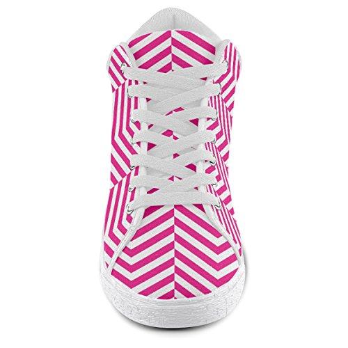 Artsadd Chaud Rose Et Blanc Classique Chevron Motif Chukka Chaussures En Toile Pour Les Femmes (model003)
