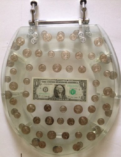 Big Money Heavy Duty Toilet Seat - Standard Size - Real Dollar Bill Inside!
