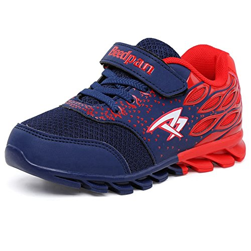 Hoxekle Breathable Mesh Running Shoes kids Rubber Anti-slip Boys Girls Velcro Casual Walking Sneakers Dark Blue Red 3.5 M US Big (Baby Spice Shoes)