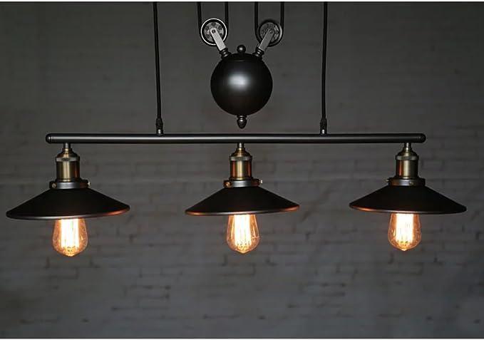Homestia Luz De Techo Polea Pendiente De La Vendimia Loft L/ámpara Colgante Accesorio De Iluminaci/ón Art/ÍStica