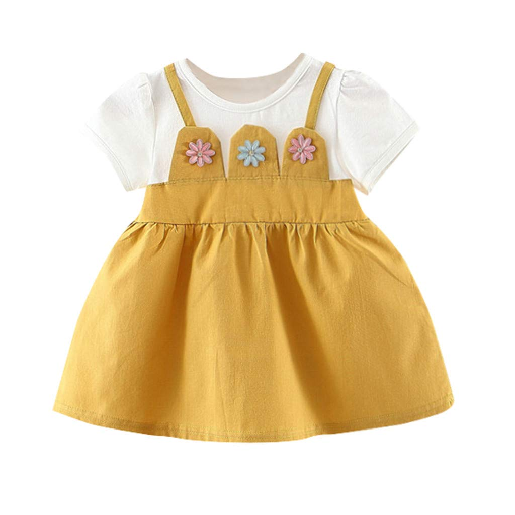 NUWFOR Toddler Baby Kid Girl Floral Flowers Skirt Party Princess Dresses Casual Clothes(Yellow,3-6Months)