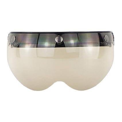 3 Bottoni LuMon Occhiali da Sole per Casco da Moto Antivento con Visiera Vintage Accessori per Moto Silver