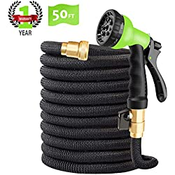 """CINBOS 50FT Expandable Garden Hose, Upgraded No-Kink Flexible Water Hose with Double Latex Core, 3/4"""" Solid Brass Fittings, Extra Strength Textile, Best Magic Hose - 8 Function Spray Nozzle Included"""
