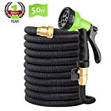 "CINBOS 50FT Expandable Garden Hose, Upgraded No-Kink Flexible Water Hose with Double Latex Core, 3/4"" Solid Brass Fittings, Extra Strength Textile, Best Magic Hose - 8 Function Spray Nozzle Included"