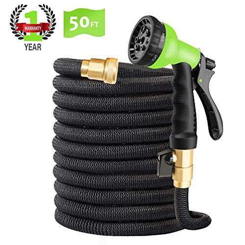 "CINBOS 50FT Expandable Garden Hose, Upgraded No-Kink Flexible Water Hose with Double Latex Core, 3/4"" Solid Brass Fittings, Extra Strength Textile, Best Magic Hose – 8 Function Spray Nozzle Included"