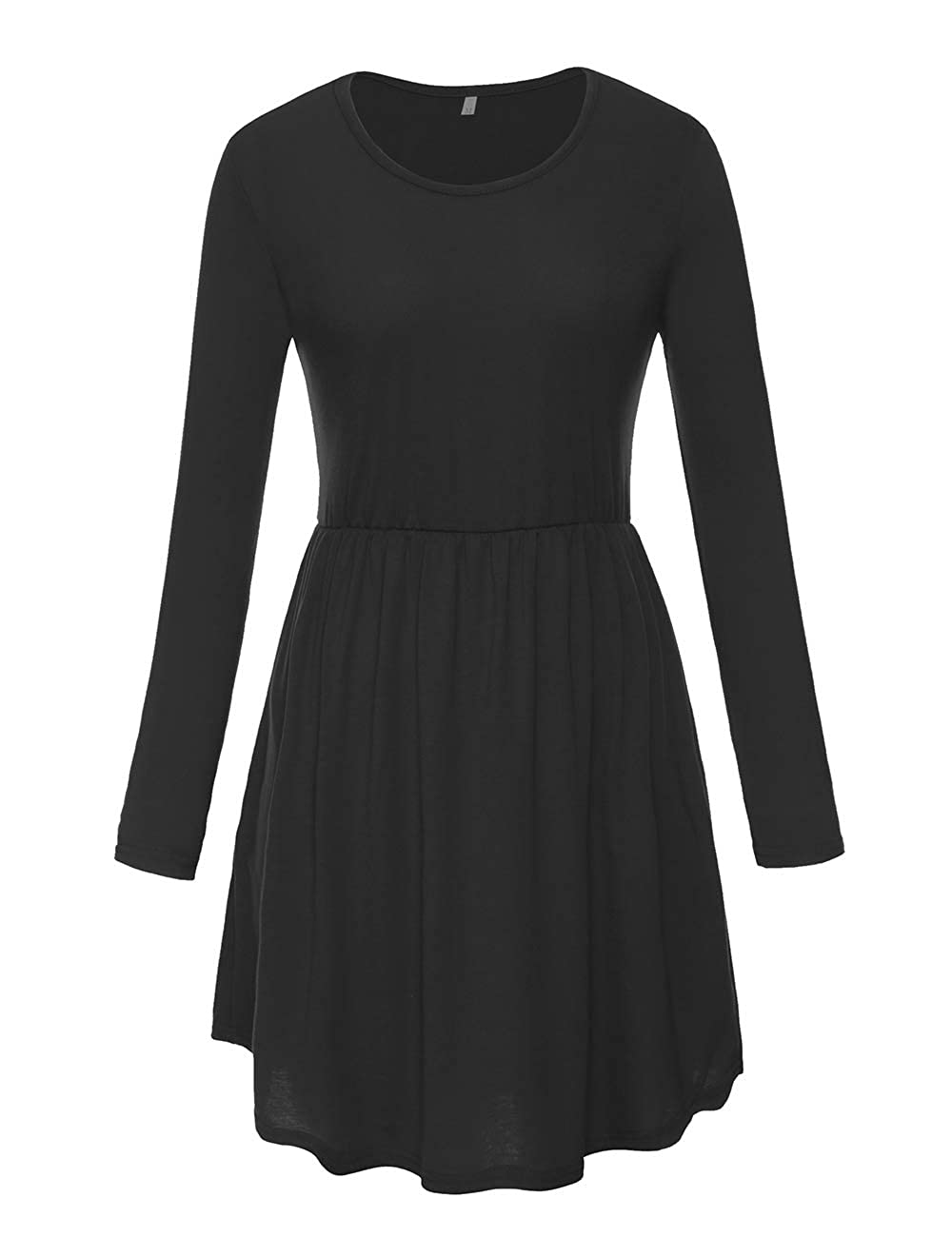 1black Long Sleeve CROSS1946 Women's Racerback Pleated Sundress Elastic Waist Flowy Curved Hem TShirt Dress Pockets