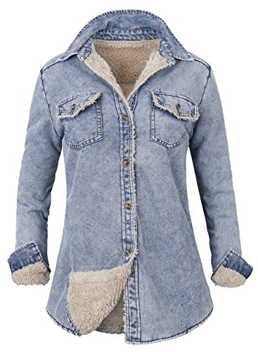 ililily Howels Women Denim Shirt Faux Fur Lined Casual Soft Jacket, Light Blue