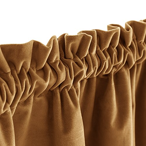 jinchan Room Darkening Velvet Curtains 84 Gold Brown Window Drapes for Bedroom, Thermal Insulated Rod Pocket Curtain Panels for Living Room(1 Panel, 84 Inch, Gold Brown)